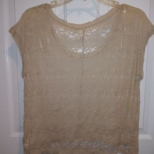 Sheer and Lace Beige Top